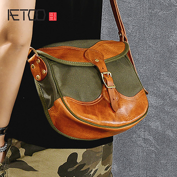 AETOO Retro thickened oil wax canvas stitching bag, tanning leather male and female general small bag