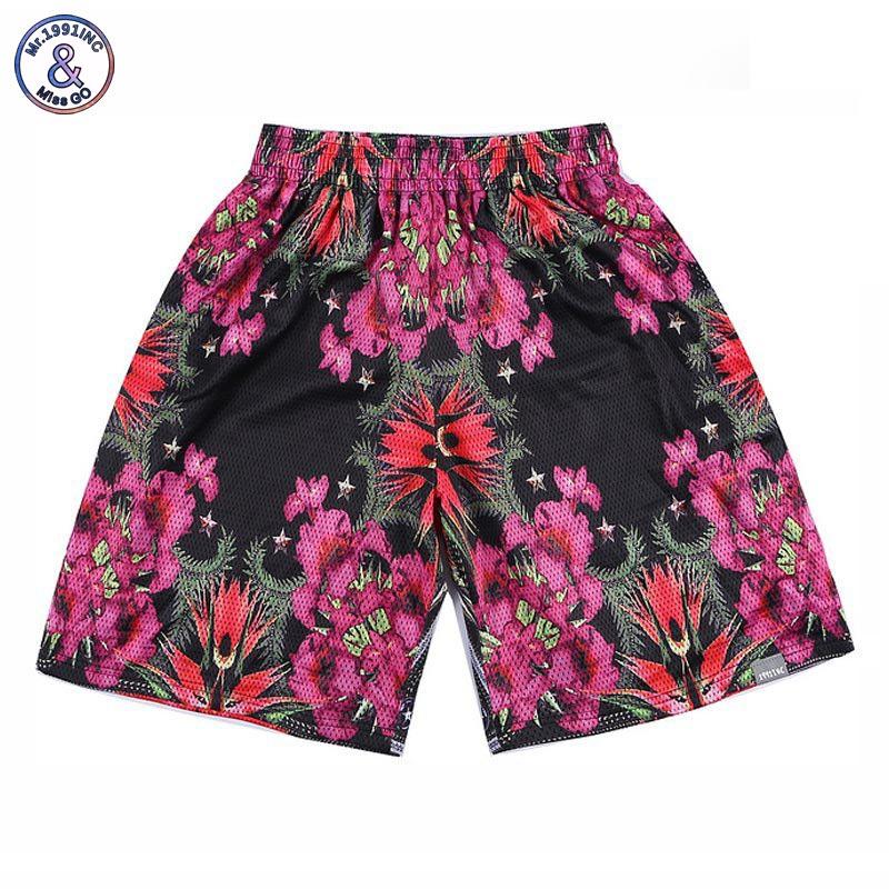 2017 Mr.1991INC shorts men mesh 3d 3d shorts print beautiful flowers breathable designed short pants harajuku joggers
