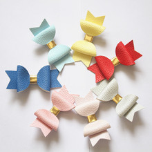 Resale Double Teeth Clip Hair Bow Prince Kids Girl Faux Glitter Felt Litchi Stria PU Leather Grip Gold Two Layers