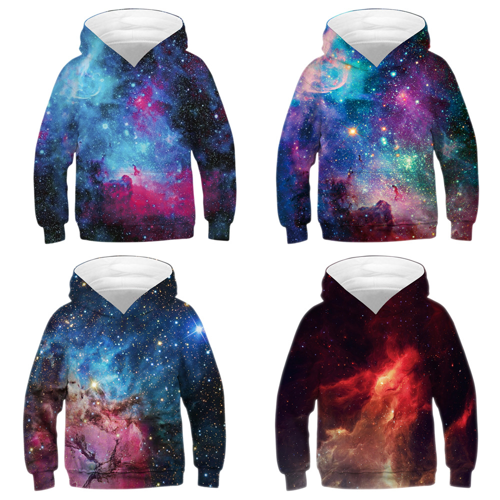 3D Printed children's Sweatshirts  Hoodies With Hat Stars Nebula Spring Autumn Loose Thin Hooded Hoody Tops Baseball uniform(China)