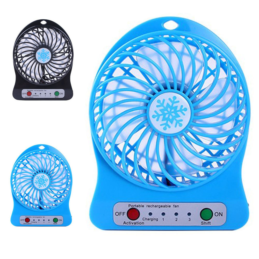 Mini 4 Blade Fan Portable Rechargeable LED Fan air Cooler Mini Operated Desk USB Charging Quiet