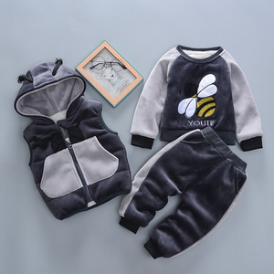 Image 2 - 2020 zima 3 sztuk dzieci pogrubienie kamizelka z kapturem sweter Pant dresy sportowe dla chłopców i dziewcząt ciepłe kreskówki strój dzieci odzież