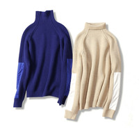 Cashmere Wool Blend Add Thick Women S Fashion Pullover Sweater Patchwork Sleeve S M L Wholesale