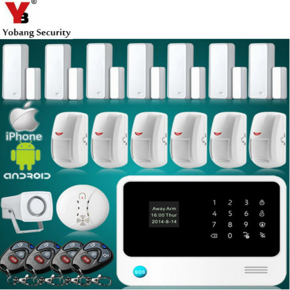 YobangSecurity WiFi Alarm Systems Security Home Touch Screen GSM Wireless Alarm System with Fire Smoke Sensor Door Magnet Sensor