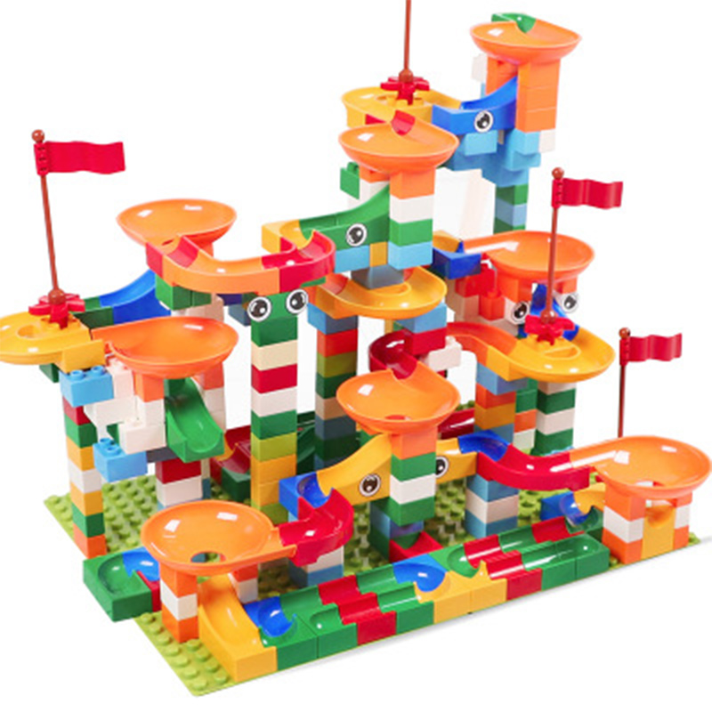 Colorful Construction Balls Rolling Track Funny Race Run Track Building Blocks Compatible Legoings Duploe Bricks For Kid Gifts