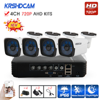 KRSHDCAM 4CH AHD DVR Security CCTV System 30M IR 4PCS 720P CCTV Camera Outdoor Waterproof Camera
