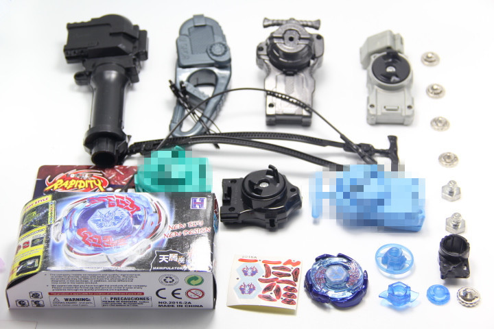 Galaxy Pegasus (Pegasis) W105R2F Metal Fury 4D Beyblade Hyperblade BB70 + 4Pcs Different Launcher + 1 Hand + 1 Hook + 6 Meta Tip