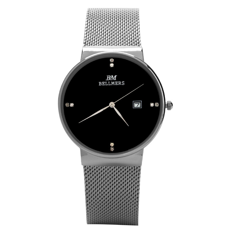 BELLMERS New Top Luxury Watch Men Brand Watches Ultra Thin Stainless Steel Mesh Quartz Wristwatch Fashion casual watch relogio 2017 new fashion brand mcykcy casual quartz watch women ultra thin metal mesh stainless steel dress watches relogio feminino hot