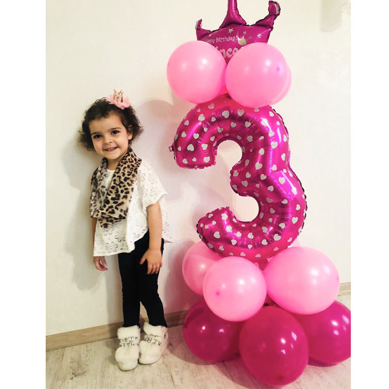 Image 5 - Heronsbill 1st 1 2 3 4 5 6 7 8 9 Years Happy Birthday Foil Number Balloons Baby Boy Girl Party Decorations Kids Supplies 2nd 3rd-in Ballons & Accessories from Home & Garden
