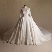 Long Sleeve V neck Custom Made Wedding Dresses Ball Gown Princess Romantic Real Picture High Quality vestido de noiva