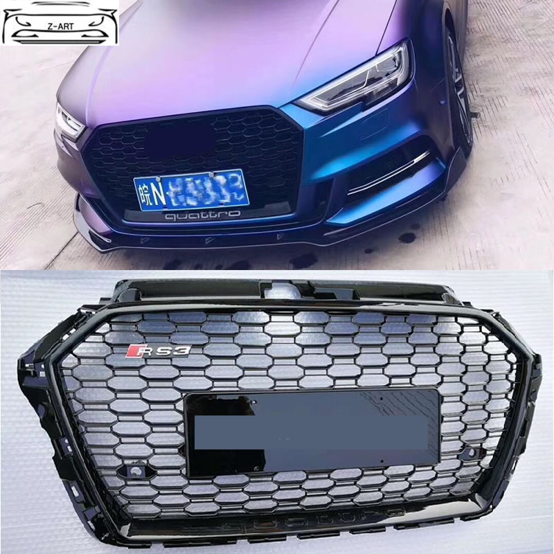 A3 RS3 All black Grille Racing Grills ABS Honeycomb grill for Audi A3 S3 RS3 front bumper 2017
