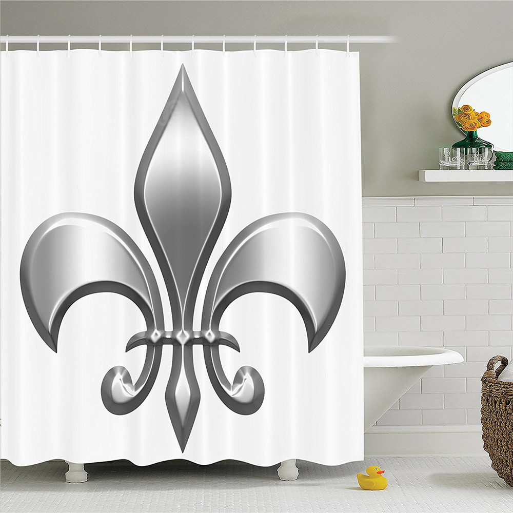 Fleur de lis decor shower curtain set lily flower symbol nobility of fleur de lis decor shower curtain set lily flower symbol nobility of knights in medieval time european iris icon design bathroom in shower curtains from izmirmasajfo
