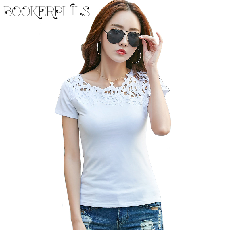 2019 Fesyen Lace Hollow Out Patchwork Perempuan T-shirt Summer Slim semua perlawanan Bottoming Shirt Wanita Kasual Tops Tees 95% Cotton