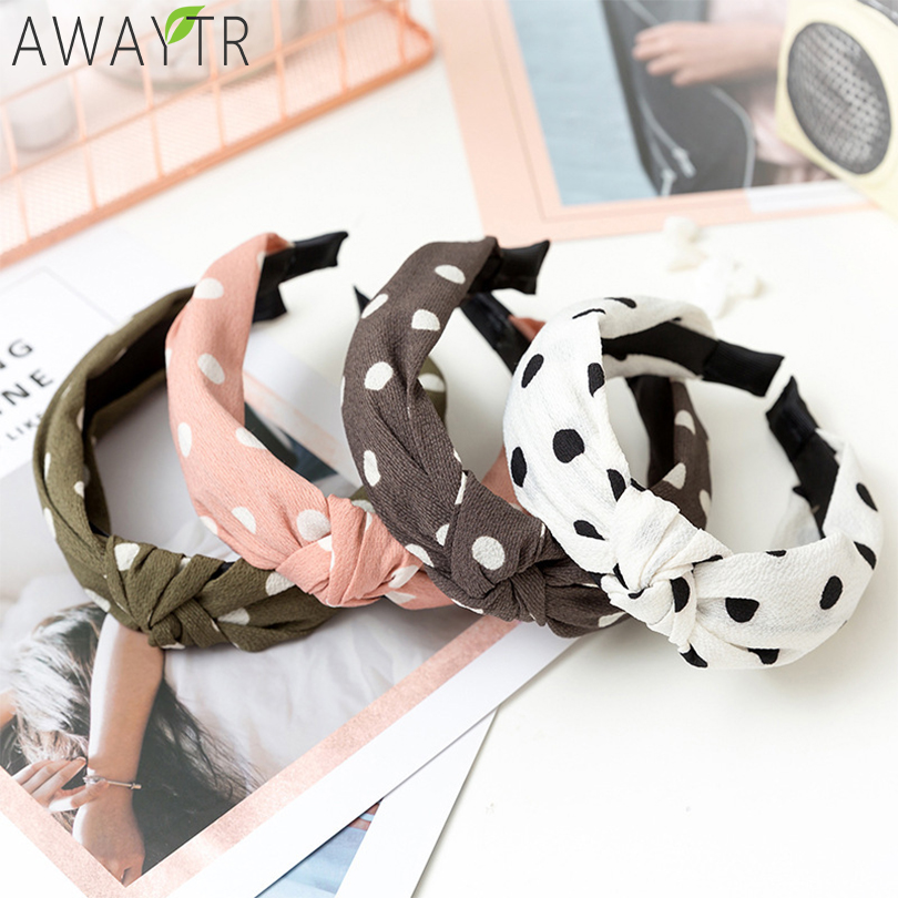 AWAYTR Women's Cotton Linen Dot Solid Color Cross Elastic Headband Twist Knot Wide Print   Headwear   Hair Hoop Hair Accessories