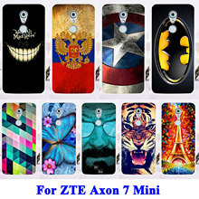 Cell Phone Cases For ZTE Axon 7 Mini Housing Covers Cat Tiger Captain American Shell Bags Soft TPU Hard Plastic Case