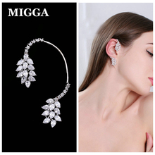 MIGGA 1PC Water Drop Shape CZ Stone Zircon Crystal Full Ear Jacket Long Piercing Women Clip Earring Cuff