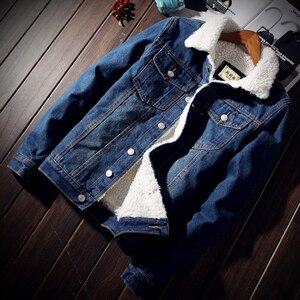 Image 3 - Men Jacket and Coat Trendy Warm Fleece Thick Denim Jacket 2020 Winter Fashion Mens Jean Jacket Outwear Male Cowboy Plus Size 6XL