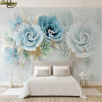 beibehang Custom 3D Photo Mural Wallpaper For living room Mural Bedroom Embossed blue flowers photo murals Wall paper Painting custom photo wallpaper 3d stereo dinosaur theme large murals primitive forest living room bedroom backdrop decor mural wallpaper
