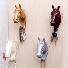 Animal Horse Head Wall Hook Animal Ornaments Statues Sculptures Decorative Coat Hat Key Hanging Rack For Home Decor Resin Crafts(China)