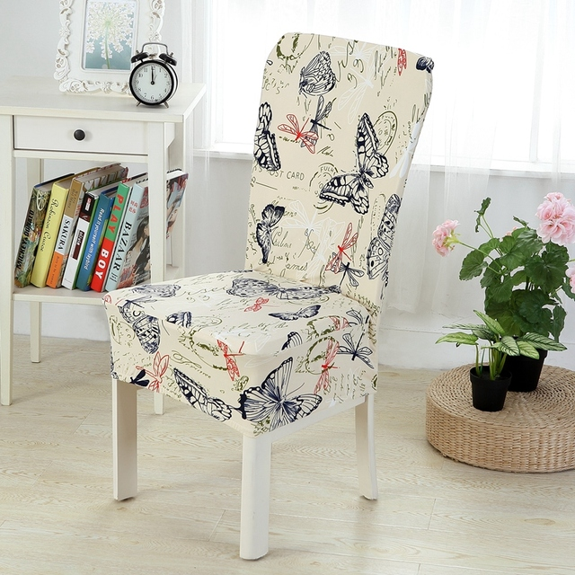 Butterfly Print Chair Cover Stretch Elastic Spandex Dinner Chair Case