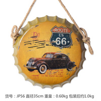 Route 66 3D effect tin sign Wall Hangings Vintage Metal Painting Beer Cap Bar Cafe Decoration Poster Mural Craft 35X35 CM