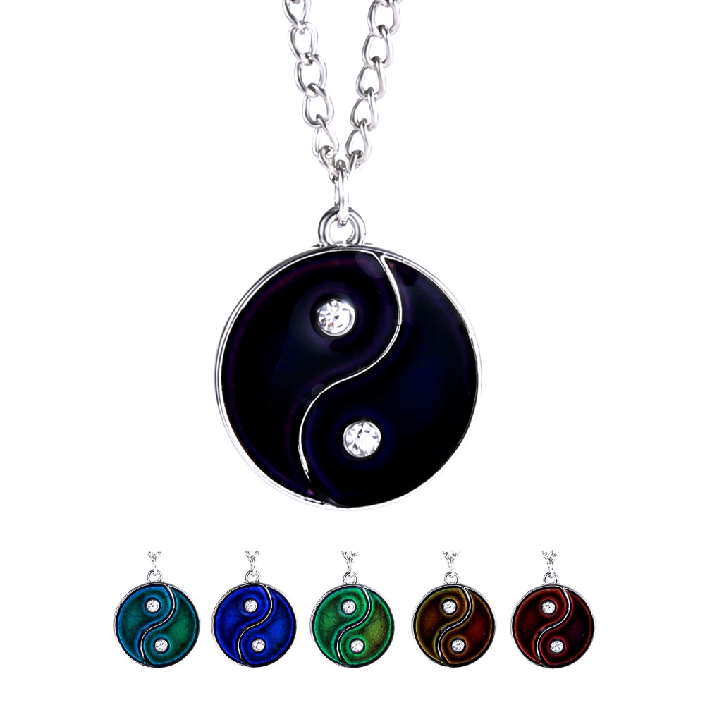 Color Mood Changing Necklace Yin Yang Necklace Pendant Emotion Heart Enamel Necklace Jewelry Color Changing By Temperature