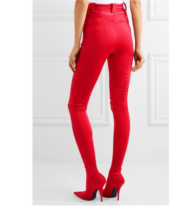 Rose Green Black Red Pants Thigh high Boots Women Pointed Sexy Stilettos Elastic Sock Waist Bootcuts High Heel Shoes Woman red button closure high waist skorts