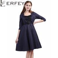 LERFEY Women Autumn Winter Dress Patchwork Vintage Retro Style Ladies Rockabilly Party Dresses 50s Vestidos Plus