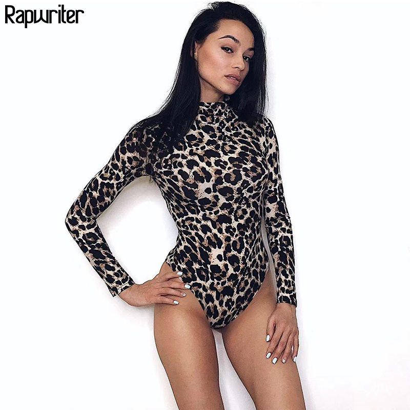 Rapwriter Sexy Leopard Print Turtleneck Skinny One Piece Bodysuits Women 2018 Autumn Winter Long Sleeve Bodycon Sheer Bodysuit