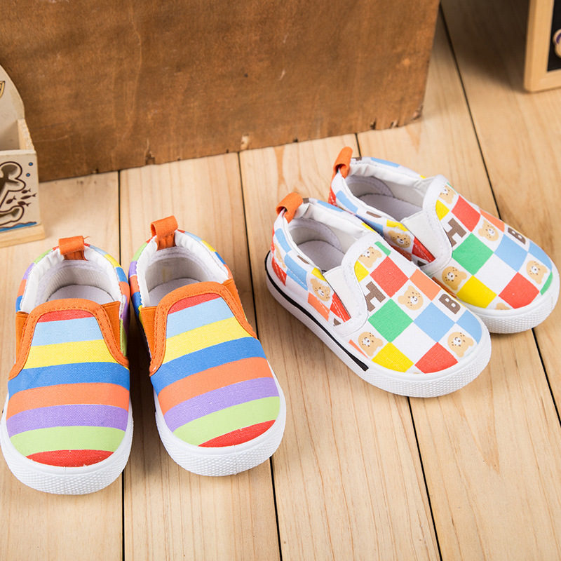 JUSTSL Autumn Rainbow color style Kids casual shoes ...