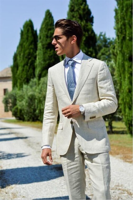 Tailor Made Linen Beige Men Suits Slim Fit Groom Prom Dress Blazer