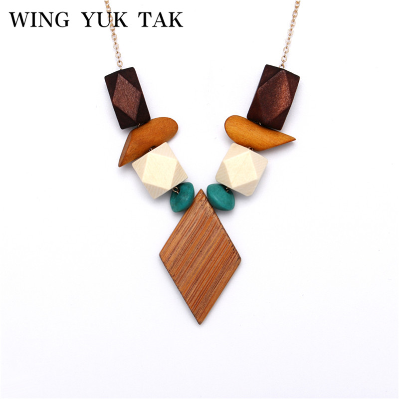wing yuk tak New Design Multicolor Geometric Wood Pendant Necklace For Women Bohemia Vintage Snake Chain Necklaces Bijoux