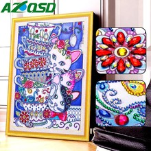 AZQSD Diamond Mosaic Animal Special Shape Embroidery Cat Partial Picture Of Rhinestone Painting Gift