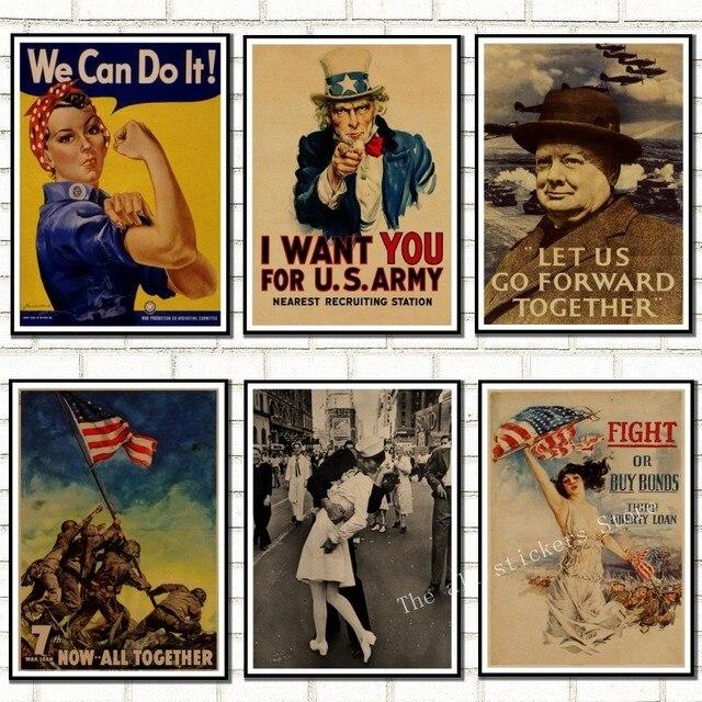 World War vintage Retro Kraft  Poster. World War 1, World War 2 propaganda poster retro poster style decorative/901