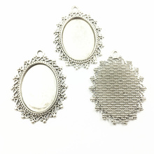 10Pcs Silver Tone S Words Lace Pendants Oval Setting Cameo Base Tray Bezel Blank Metal Fit 25x18mm Cabochon Jewelry 39mm sweet bell free shipping 40pcs lot antique silver tone oval filigree frame cameo settings 22 30mm fit 13 18mm d0775
