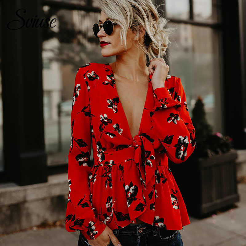 0e4971d7955e Detail Feedback Questions about Women Floral Print Chiffon Shirts Autumn  Sexy Deep V Neck Bandage Red Ruffle Shirt Female Elegant Casual Long Sleeve  Top ...
