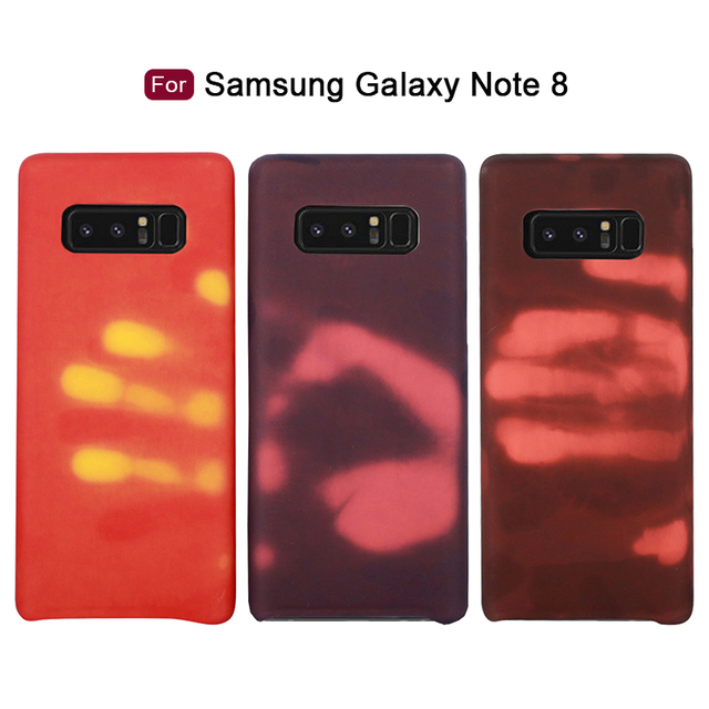 on sale dc091 bbb22 US $4.01 |Note8 Heat Sensitive Color Changing Phone Case for Samsung Galaxy  Note 8 Case Cover Thermal Sensor Matte PU Back Cover Soft Case-in ...