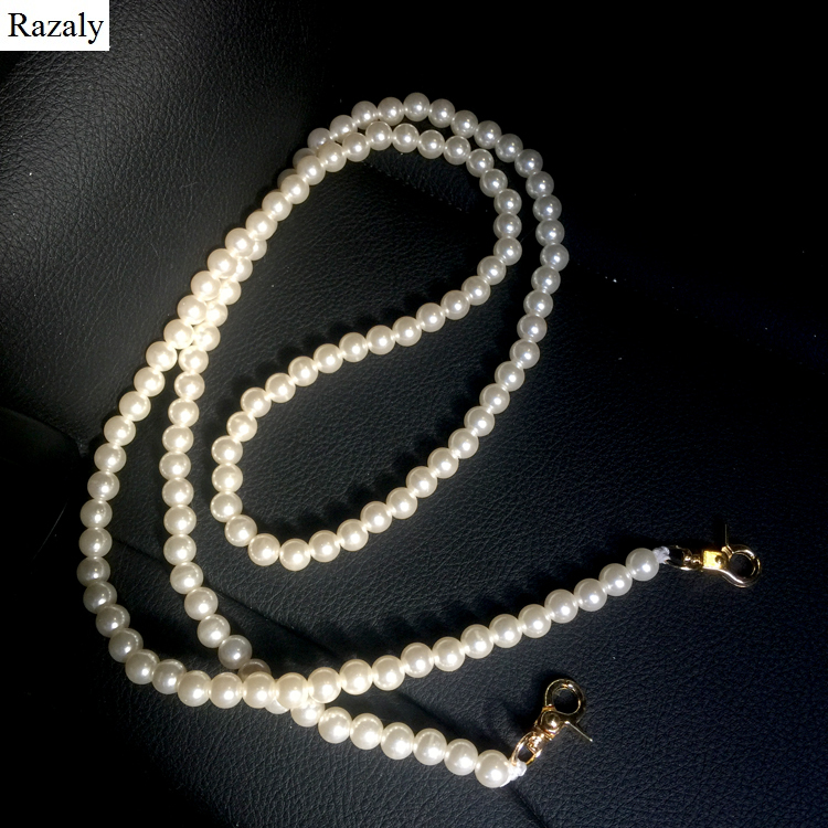 Razaly brand Pearl strap you straps for bags handbag accessories purse belt handles cute gold chain tote women parts 2018 silver men beaded bracelet red