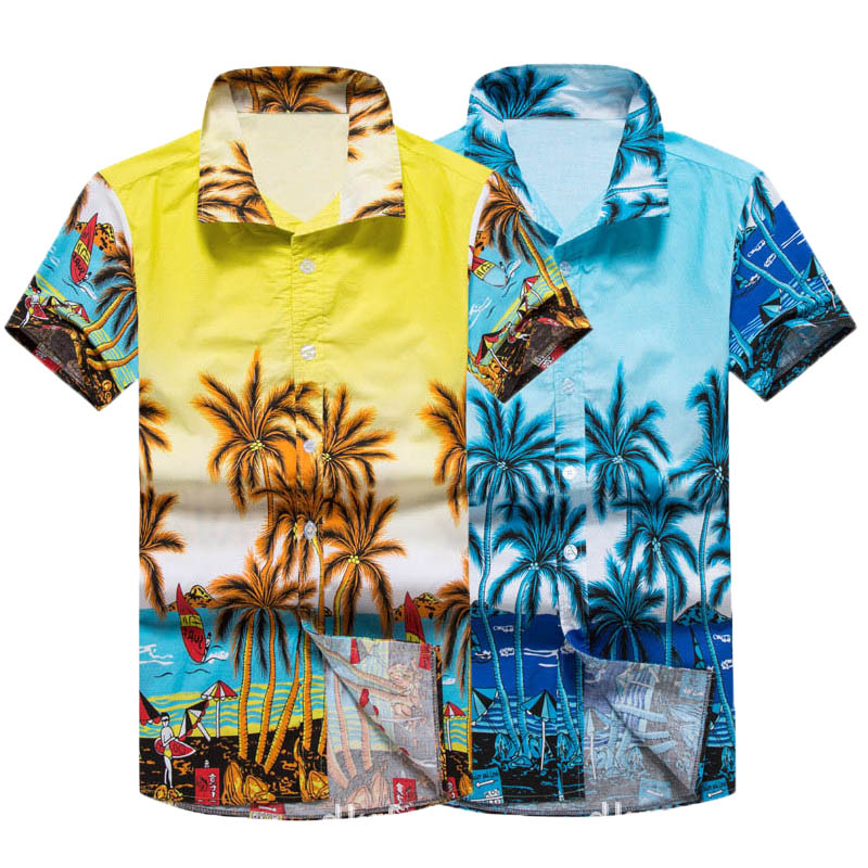 Mens Short Sleeve Shirts Casual Loose Summer Hawaiian Vacation Coconut Pattern Beach Style Shirts 100% Cotton Male Clothes 5XL