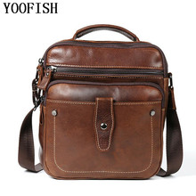 YOOFISH   Genuine Leather Men Messenger Bag Man Crossbody Shoulder Handbag Cowhide Leather Men Bags Male Casual Bag  LJ-826