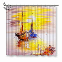 NYAA Venice Italy Oil Painting Shower Curtains Waterproof Polyester Fabric Bathroom Curtains For Home Decor