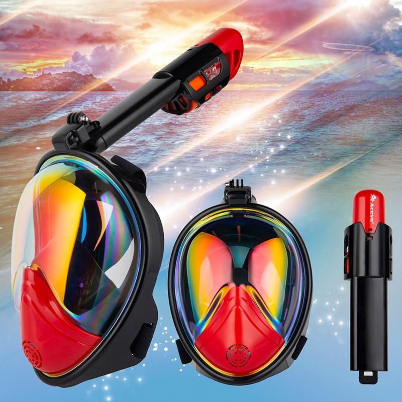 2018 nueva plegable máscara de buceo bajo el agua Anti niebla GoPro cara completa Snorkel máscara de los hombres y las mujeres los niños de natación Snorkel