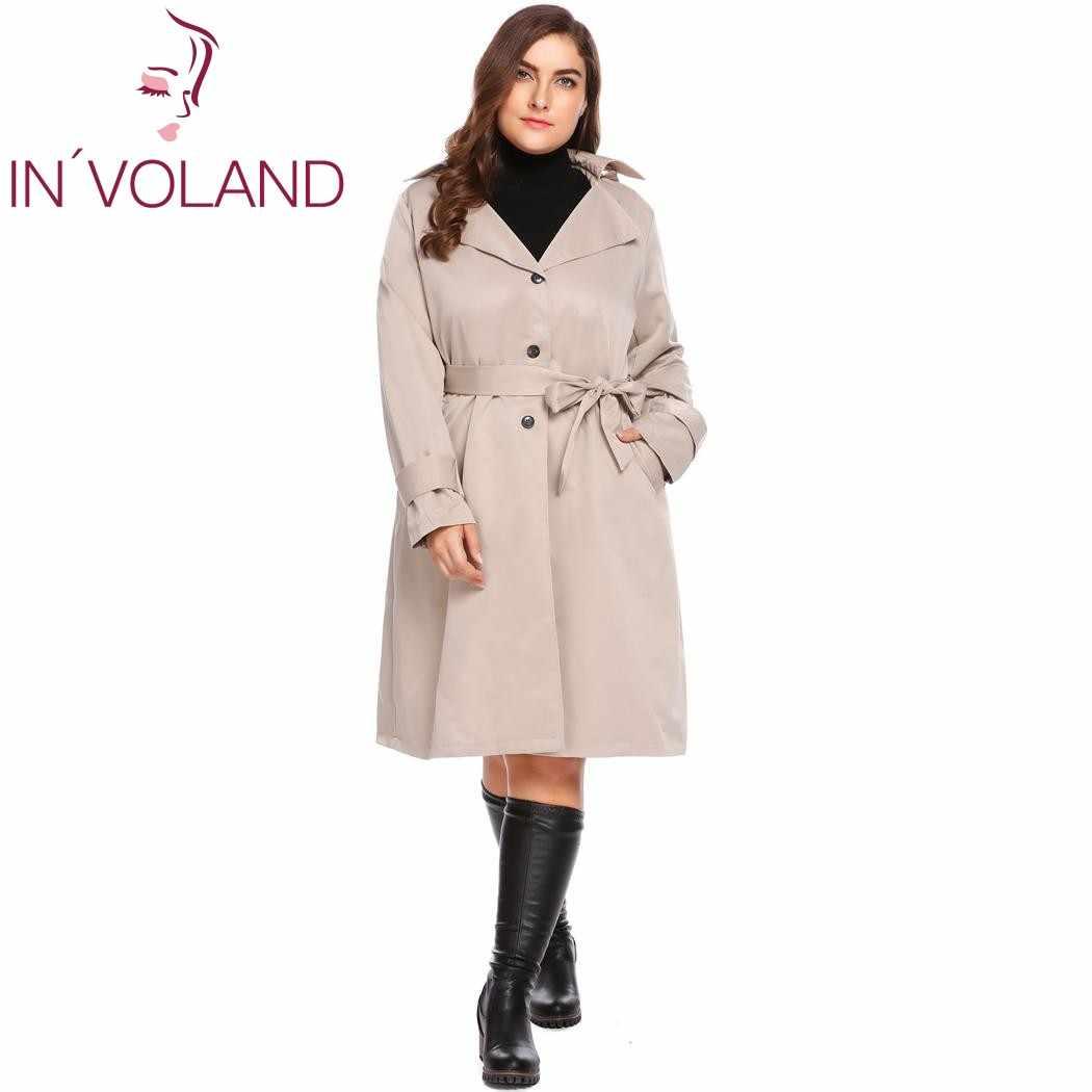 cf4c154ebe ... Gabardina de mujer de talla grande en voland L-4XL otoño invierno con  capucha de ...