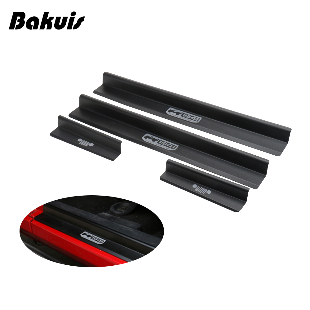 Car Door Sill Scuff Plate For Jeep Wrangler JK 2007-2017 Protector Entry Guard Cover External Car Door Threshold Decoration Trim
