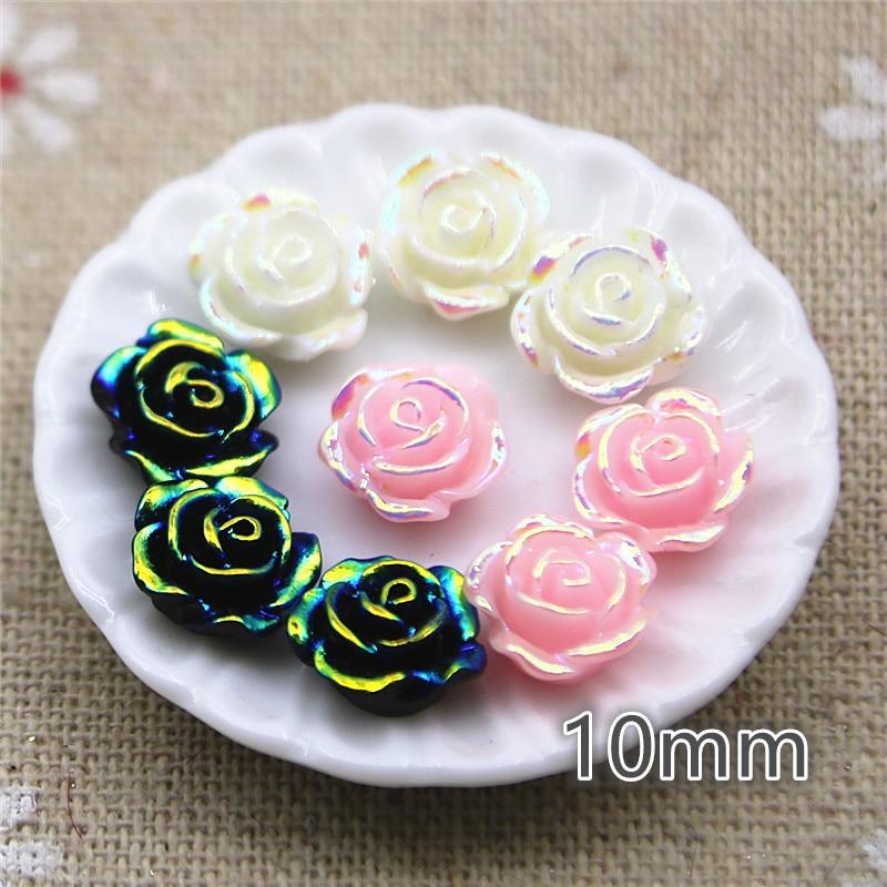 50pcs 10mm White/black/pink AB Color Flower Resin Flatback Cabochon DIY Jewelry/phone Decoration