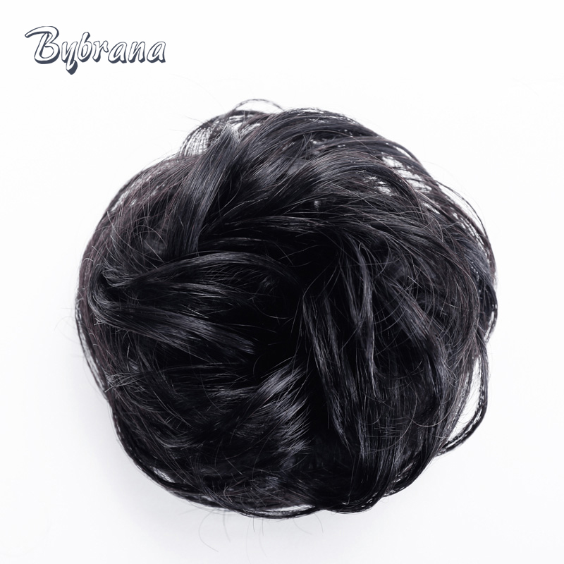 Bynrana Remy Hair Curly Human Chignon med Rubber Band Hair Extension - Menneskehår (sort)