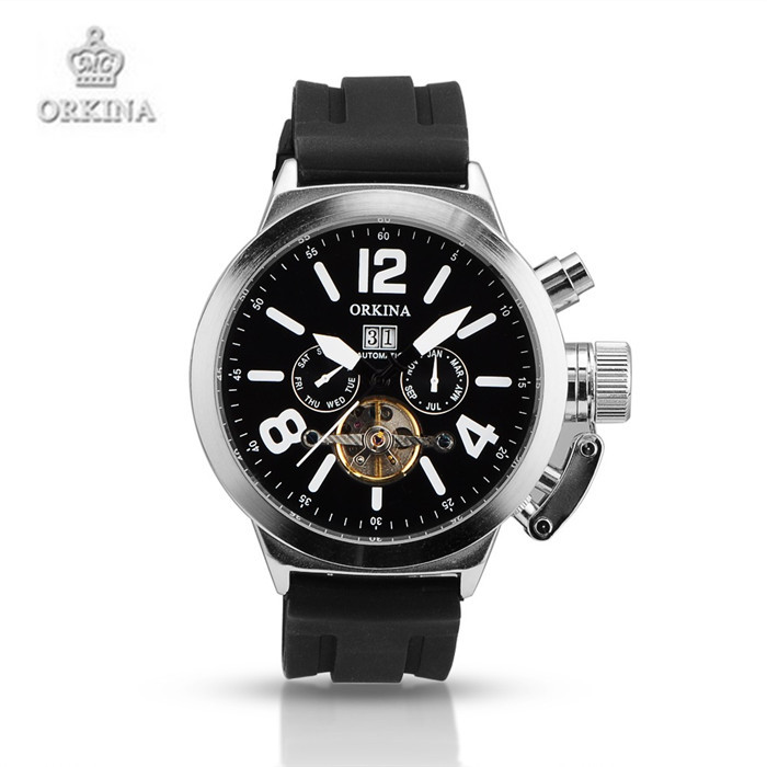 Stainless Steel Silicone Sports Watches Men Luxury Brand Automatic Mechanical Wristwatches ORKINA Black Watch for Men