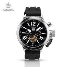 Deportes De Silicona Relojes Hombres Marca de Lujo Mecánico Automático de Acero inoxidable Relojes de Pulsera Negro ORKINA Reloj para Los Hombres