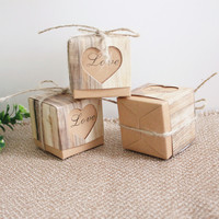 50pcs Wedding Candy Box Romantic Heart Kraft Gift Bags For Wedding Party Christmas Paper Gifts Box with Burlap Twine