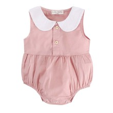2019 Ins Doll Collar Summer Baby Girls clothes Solid color pink Sleeveless Cotton Fashion bodysuit Jumpsuit Outfit children wear